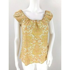 J. Crew damask short sleeve top puffy sleeve